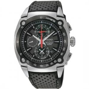 Seiko Sportura Watch Strap SNAA95 Black Leather