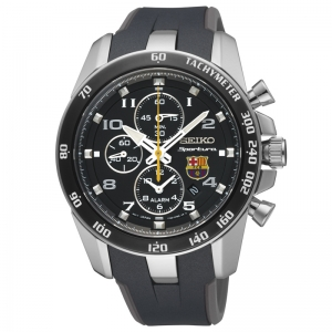 Seiko Sportura FC Barcelona Watch Strap SNAE93P1 Black, Gray Rubber