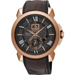 Seiko Premier Watch Strap SNP146P1 Rubber, Brown Leather