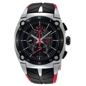 Seiko Sportura Watch Strap SPC009 Black, Red Rubber