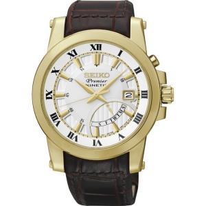 Seiko Premier Watch Strap SRN042P1 Brown Leather