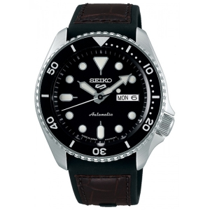 Seiko 5 Watch Strap SRPD55 Rubber, Brown Leather 22mm