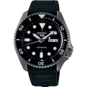 Seiko 5 Watch Strap SRPD65 Rubber, Black Leather 22mm