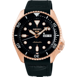 Seiko 5 Watch Strap SRPD76 Rubber, Black Leather 22mm