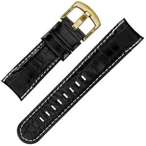 TW Steel Grandeur TW96 TWA96 Watch Strap Black Croco Calfskin - 24mm