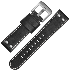 TW Steel Watch Band CS1, CS3 - TWS1 Black, White Stitching 22 mm
