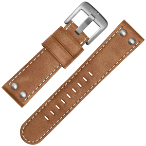 TW Steel Watch Band CS11, CS13 - TWS11 Light Brown, White Stitching 22mm