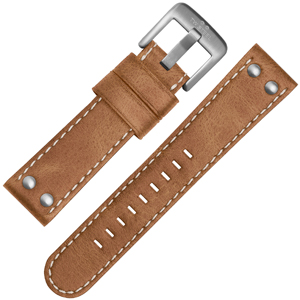 TW Steel Watch Band CS12, CS14 - TWS12 Light Brown, White Stitching 24mm