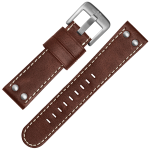 TW Steel Watch Band CS21, CS23 - TWS21 Brown, White Stitching 22mm
