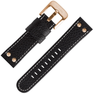 TW Steel Universal Watch Strap Black Leather Rosegold Studs