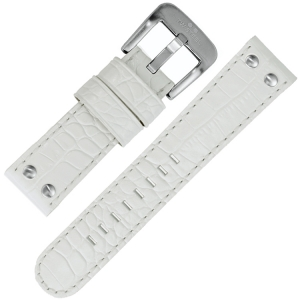 TW Steel Watch Band White Crocograin Calfskin 24mm