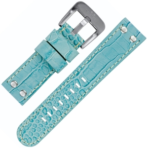 TW Steel Watch Band Light Blue Croco Calfskin 22mm