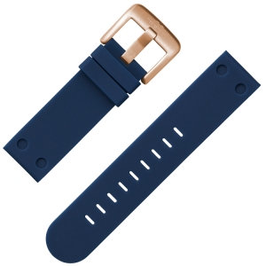 TW Steel Watch Band Rubber Dark Blue with Rosegolden Buckle 22 mm