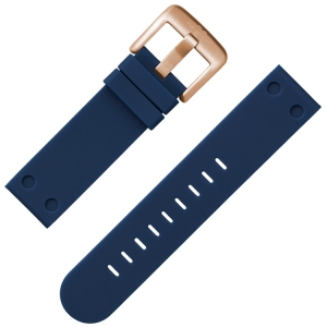 TW Steel Watch Band Rubber Dark Blue Rosegolden Buckle 24 mm