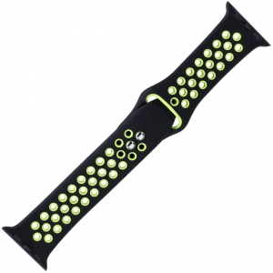 Apple Watch Sport Watch Strap Black and Green Silicone Rubber