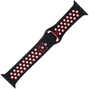 Apple Watch Sport Watch Strap Black and Red Silicone Rubber