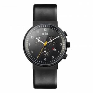 Braun BN0035BKBKG Watch Strap Black Leather