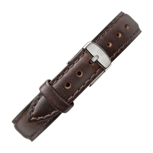 Daniel Wellington 12mm Petite Bristol Dark Brown Leather Watch Strap Stainless Steel Buckle