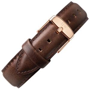 Daniel Wellington 19mm Dapper Bristol Dark Brown Leather Watch Strap Rosegold Buckle