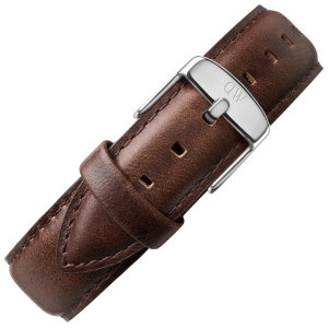 Daniel Wellington 17mm Dapper Bristol Dark Brown Leather Watch Strap Stainless Steel Buckle