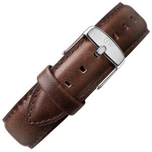 Daniel Wellington 19mm Dapper Bristol Dark Brown Leather Watch Strap Stainless Steel Buckle