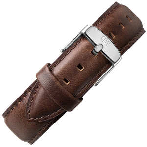Daniel Wellington 18mm Classic Bristol Dark Brown Leather Watch Strap Stainless Steel Buckle
