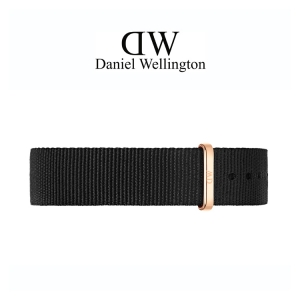 Daniel Wellington 14mm Petite Cornwall Black Nato Watch Strap Rosegold Buckle