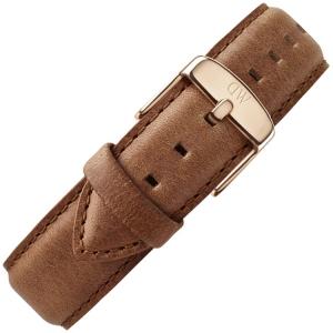 Daniel Wellington 19mm Dapper Durham Brown Leather Watch Strap Rosegold Buckle