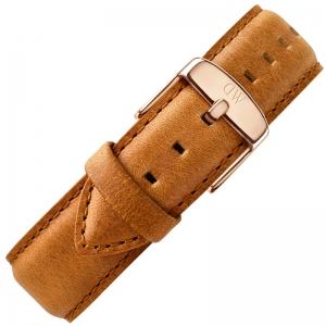 Daniel Wellington 20mm Classic Durham Vintage Brown Leather Watch Strap Rosegold Steel Buckle