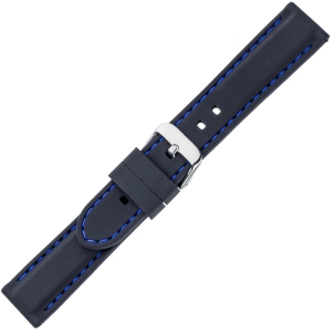 Black Silicone Rubber Watch Strap - Blue Stitching