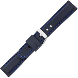 Black Silicone Rubber Watch Strap - Blue Stitching