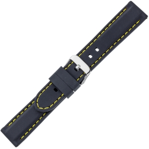 Black Silicone Rubber Watch Strap - Yellow Stitching