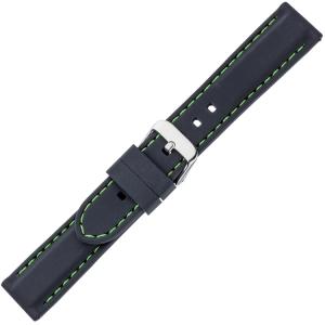 Black Silicone Rubber Watch Strap - Green Stitching