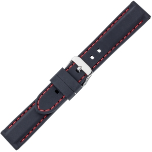 Black Silicone Rubber Watch Strap - Red Stitching