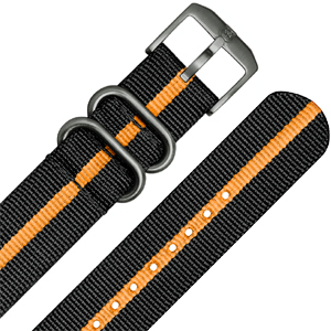 Luminox 3050, 3060, 3080, 3090, 3150, 3950 ZULU Strap Black Orange Nylon 23mm - FN.3950.35