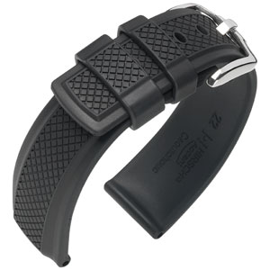 Hirsch Accent Watch Strap Caoutchouc Black