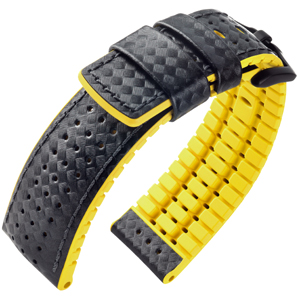 Hirsch Ayrton Performance Collection Black/Yellow Leather/Rubber 300m WR