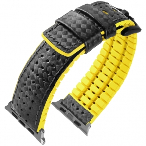 Apple Watch Strap Hirsch Ayrton Black Leather/Yellow Rubber