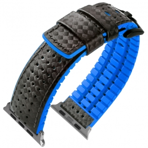 Apple Watch Strap Hirsch Ayrton Black Leather/Blue Rubber