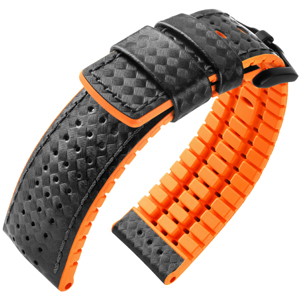 Hirsch Ayrton Performance Collection Black/Orange Leather/Rubber 300m WR
