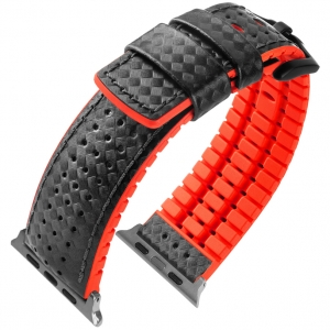 Apple Watch Strap Hirsch Ayrton Black Leather/Red Rubber