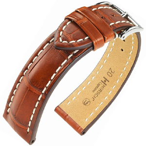 Hirsch Capitano II Louisiana Alligator Skin Watch Band Semi-Matte Golden Brown