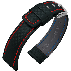 Hirsch Carbon Watch Band 100 m Water-Resistant Black with Red Stitching