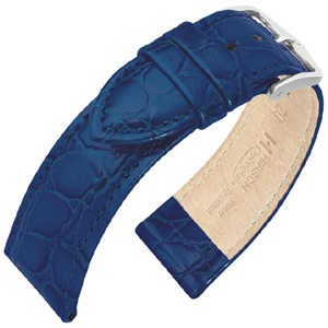 Hirsch Crocograin Watchband Blue