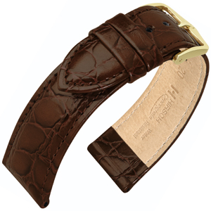 Hirsch Crocograin Watch Band Brown