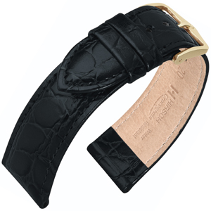 Hirsch Crocograin Watch Band Black
