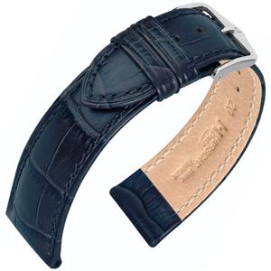 Hirsch Duke Watch Band Alligatorgrain Dark Blue