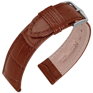 Hirsch Duke Watch Band Alligatorgrain Golden Brown