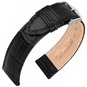 Hirsch Duke Watch Band Alligatorgrain Black