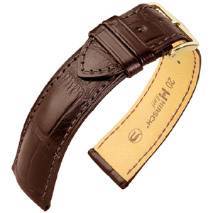 Hirsch Earl Louisiana Alligator Skin Watch Band Semi-Matte Brown